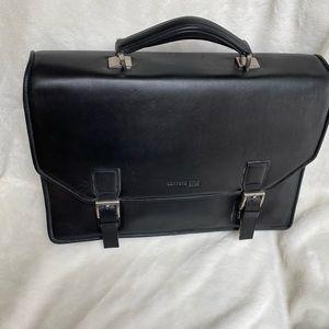 NWOT Kenneth Cole Black Leather Vintage Briefcase